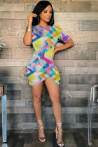 Multi-color Sexy Fashion Cap Sleeve Short Sleeves O neck Asymmetrical Mini asymmetrical Patchwork Print