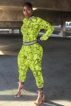 Yellow Polyester adult Sexy Fashion Print serpentine Patchwork Two Piece Suits pencil Long Sleeve