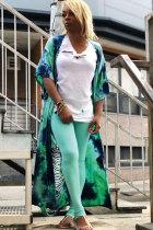 Green cardigan Print Patchwork Polyester Print Half Sleeve  Blazer & Suits &Jacket