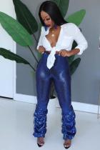 Blue Polyester Elastic Fly Sleeveless Mid Draped Straight Pants  Pants
