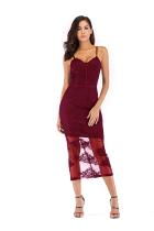 Wine Red Fashion Sexy Spaghetti Strap Sleeveless Slip Step Skirt Mid-Calf Patchwork Mesh  Club Dresses
