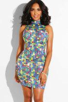 Blue Sexy Fashion Tank Sleeveless O neck Hip skirt Mini chain Patchwork diamonds Print  Club Dresses