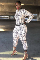 White Polyester adult Sexy Fashion Print serpentine Patchwork Two Piece Suits pencil Long Sleeve