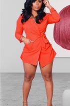 Orange Notched Bandage Solid Polyester Pure Long Sleeve  Blazer & Suits &Jacket
