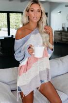 Powder blue knitting V Neck Long Sleeve Striped  Sweaters & Cardigans