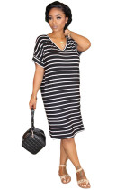 Black Polyester Sweet Fashion adult Cap Sleeve Short Sleeves O neck Step Skirt Knee-Length Striped Patchwo