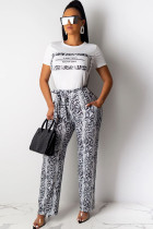 White Polyester Drawstring Mid Patchwork Print Loose Pants  Pants