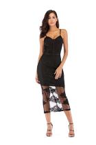 Black Fashion Sexy Spaghetti Strap Sleeveless Slip Step Skirt Mid-Calf Patchwork Mesh  Club Dresses