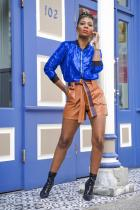 Blue V Neck Solid Sequin Patchwork Polyester Pure Long Sleeve  Blazer & Suits &Jacket