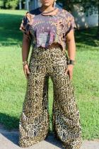 multicolor Polyester Elastic Fly Sleeveless High Leopard Print Loose Pants  Pants