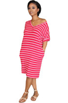 Red Polyester Sweet Fashion adult Cap Sleeve Short Sleeves O neck Step Skirt Knee-Length Striped Patchwo