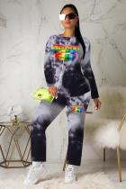 Black Polyester Active Print Straight Long Sleeve  Two-piece Pants Set