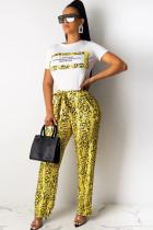 Yellow Polyester Drawstring Mid Patchwork Print Loose Pants  Pants