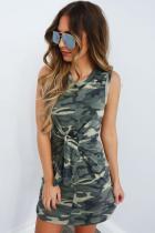Grey Polyester Casual Fashion Tank Sleeveless O neck Straight Mini camouflage bandage