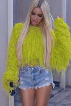 Mustard yellow knitting O Neck Long Sleeve HOLLOWED OUT tassel Solid