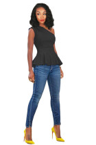 Black Polyester One Shoulder Collar Sleeveless asymmetrical Solid Draped Slim fit  Vests & Waistcoats