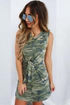 Green Polyester Casual Fashion Tank Sleeveless O neck Straight Mini camouflage bandage
