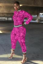 rose red Polyester adult Sexy Fashion Print serpentine Patchwork Two Piece Suits pencil Long Sleeve