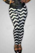 multicolor Polyester Elastic Fly Mid Striped pencil Pants  Leggings