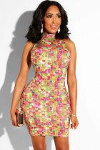 Orange Sexy Fashion Tank Sleeveless O neck Hip skirt Mini chain Patchwork diamonds Print  Club Dresses