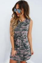 Pink Polyester Casual Fashion Tank Sleeveless O neck Straight Mini camouflage bandage