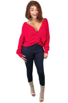 Red Polyester Cotton V Neck Long Sleeve Solid
