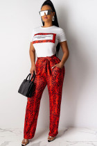 Red Polyester Drawstring Mid Patchwork Print Loose Pants  Pants