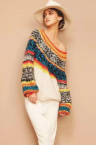 Multi-color Arylic One Shoulder Collar Long Sleeve Patchwork