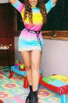 Multi-color Sexy Fashion Cap Sleeve Short Sleeves O neck A-Line Mini Print Club Dresses