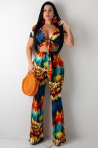 multicolor Polyester Sexy Fashion adult Bandage asymmetrical Print Straight Short Sleeve  Two-piece Pants Set