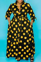 Yellow OL Turndown Collar A-Line Floor-Length Print Polka Dot Dresses