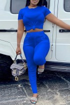 Blue Fashion Casual Solid Basic O Neck Short Sleeve Two Pieces