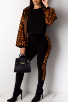 Leopard Print Sexy Print Split Joint O Neck Long Sleeve Two Pieces