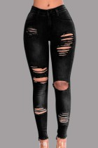 Black Fashion Casual Solid Ripped Mid Waist Skinny Jeans