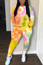 Yellow Casual Patchwork Tie-dye O Neck Long Sleeve Two Pieces