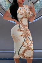 White Sexy Print Split Joint O Neck Pencil Skirt Dresses