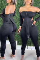 Black Sexy Solid Backless Strapless Long Sleeve Two Pieces