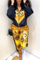 Yellow Work Daily Print O Neck Long Sleeve Two Pieces