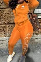 Orange Casual Print Split Joint Zipper Collar Long Sleeve Two Pieces