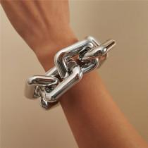 Silver Fashion Simplicity Square Geometric Hollow Bracelets