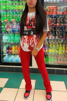 Red Sexy Print Split Joint O Neck Short Sleeve Two Pieces