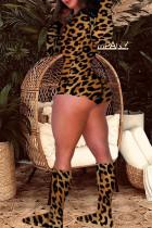 Leopard Print Street Print Leopard O Neck Regular Jumpsuits