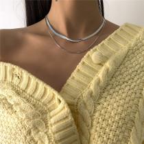 Silver Fashion  Simplicity Solid Necklaces