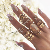 Gold Fashion Simplicity Hollow Thirteen Pieces Rings