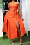 Orange Sweet Solid Split Joint High Opening One Shoulder Vest Dress Dresses