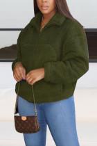 Green Casual Print Turndown Collar Outerwear