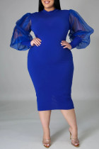 Blue Fashion Casual Solid Split Joint Slit O Neck Long Sleeve Plus Size Dress