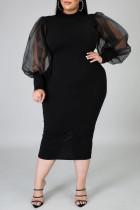 Black Fashion Casual Solid Split Joint Slit O Neck Long Sleeve Plus Size Dress