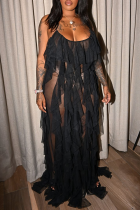 Black Sexy Solid See-through Mesh Spaghetti Strap Mesh Dress Dresses