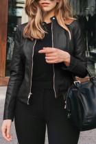 Black Fashion Casual Solid Basic Zipper Collar Plus Size Coats